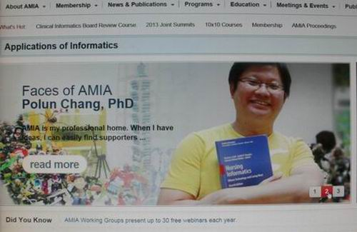 Professor Polun Chang has been identified as a role model of AMIA.